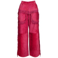 Iconic Versace 1992 Magenta Suede Fringe Pants
