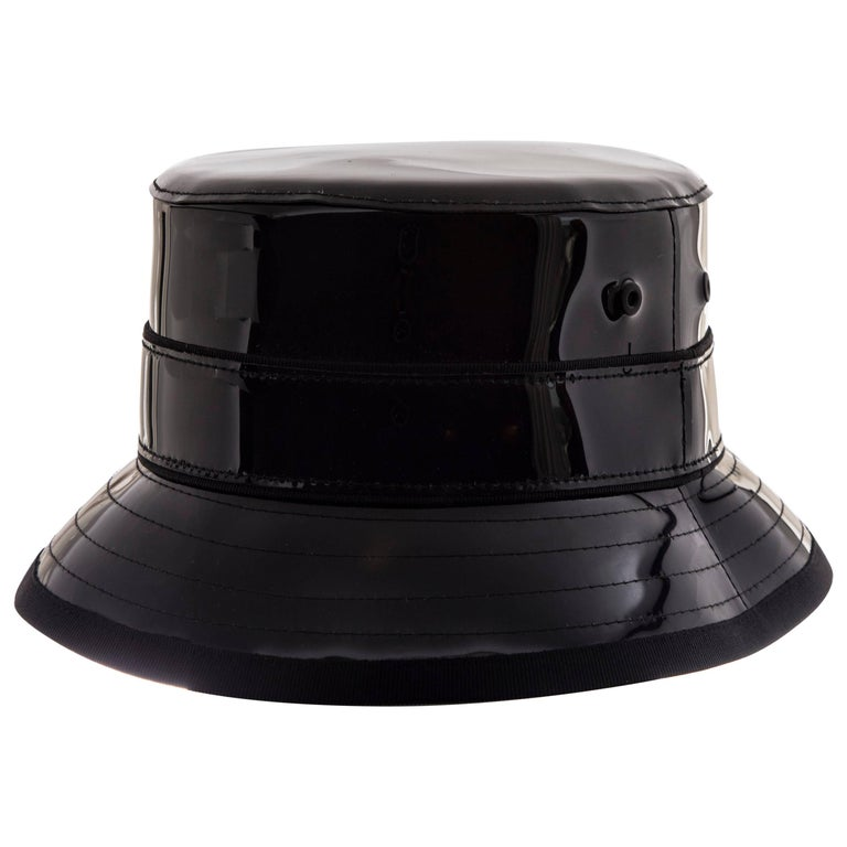 Givenchy Riccardo Tisci Runway Men s Black Patent Leather Bucket Hat ... 837c44ce9cd
