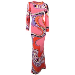 EMILIO PUCCI Dress - Pre-Fall 2015 Runway - Pink & Red Print Column Gown