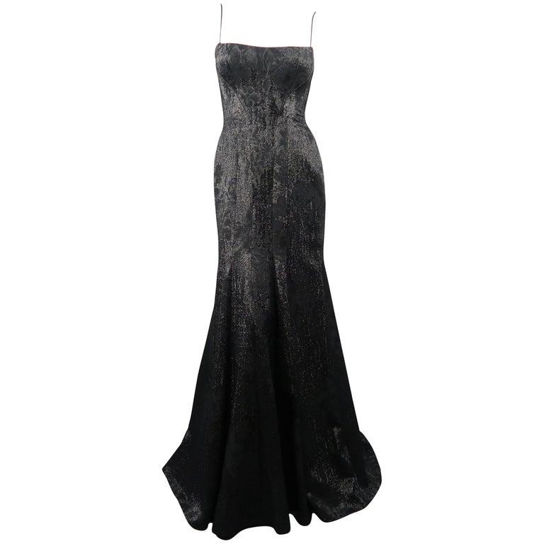 PETER SORONEN Size 6 Black Floral Jacquard Lurex Corset Gown For ...