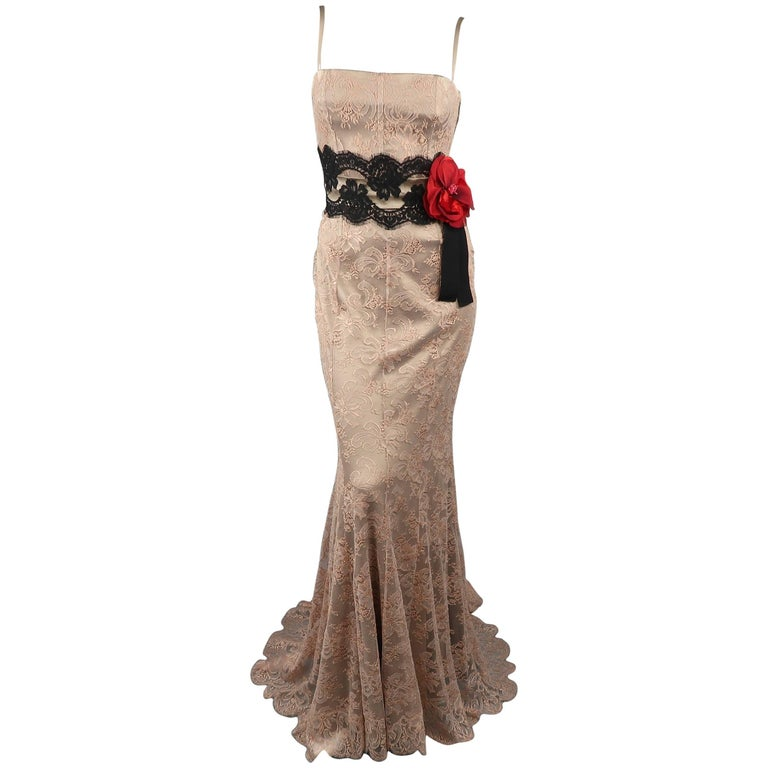 6f8154593d DOLCE   GABBANA Dress - Size 8 Beige Silk Lace Red Flower Sash Belt Gown  Dress