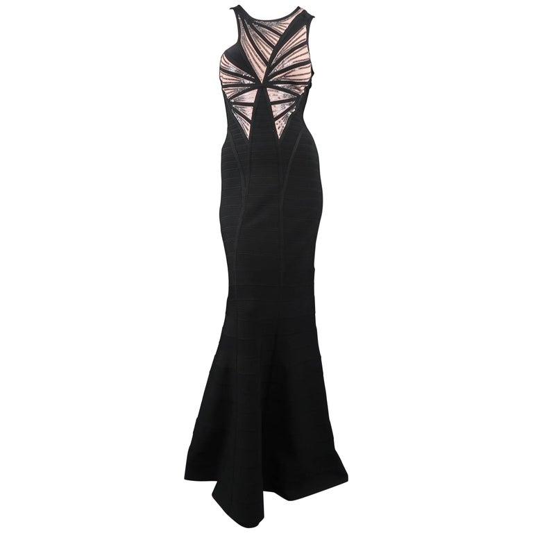 HERVE LEGER Size M Black & Beige Sequin Panel Strapless HALE Bandage Gown