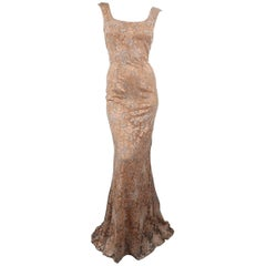VERA WANG Size 8 Beige Silk Beaded Lace Strapless Evening Gown