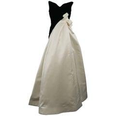 Arnold Scaasi Vintage Black and Cream Silk Velvet Bustier Gown