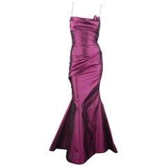 RICHARD TYLER Dress - Gown - Purple Silk Taffeta Gathered Rosette