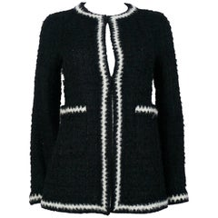 Chanel Vintage Fall 1998 Iconic Black & White Trim Boucle Cardigan Jacket