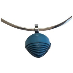 HERMES Choker Necklace 'Jojoba' model in Steel and Blue Jean Calfskin Leather