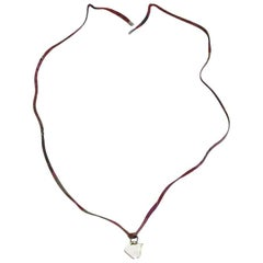 HERMES Multicolored Link Necklace with Silver Metal Horse Head Pendant