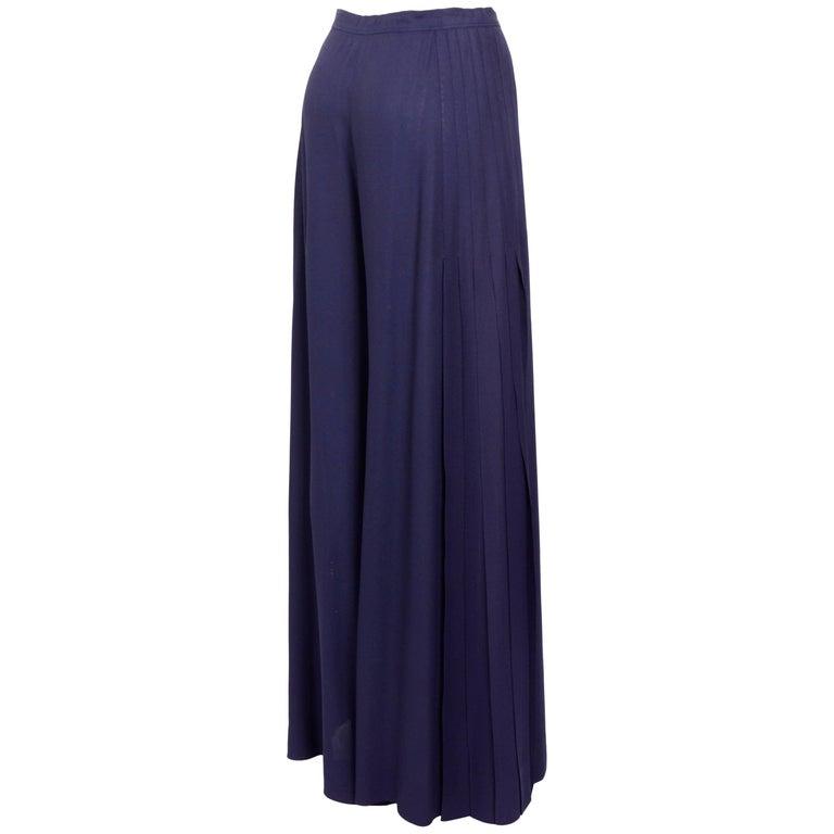 "Vintage 1970s Yves Saint Laurent ""rive gauche"" wide side pleated crepe pants"
