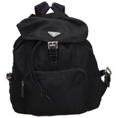 Prada Black Drawstring Nylon Backpack