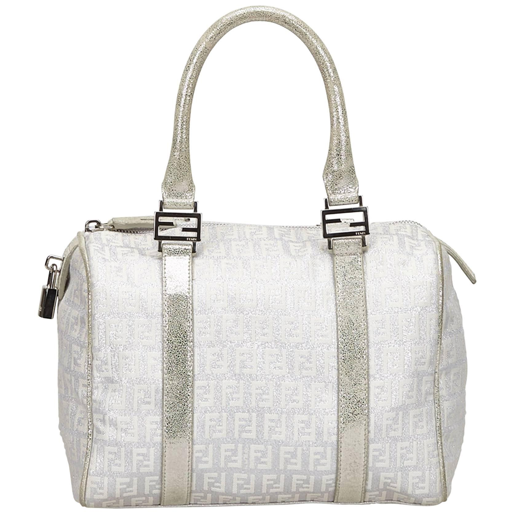 Fendi White X Silver Zucchino Forever Boston Bag CVhzRcMr7