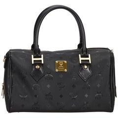 MCM Black Visetos Boston Bag