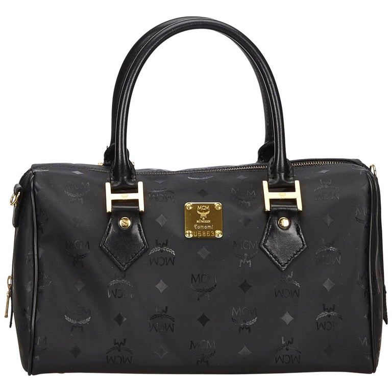 Mcm Black Visetos Boston Bag For