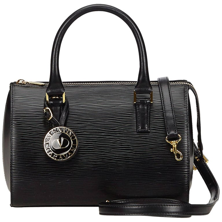 Valentino Black Leather Boston Bag