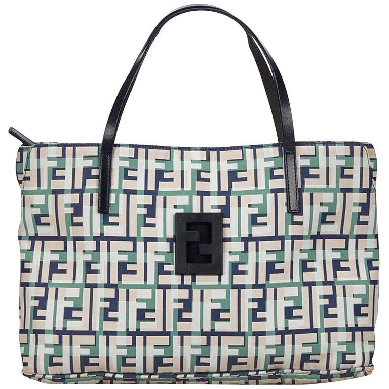 Fendi White x Multi Zucca Nylon Handbag