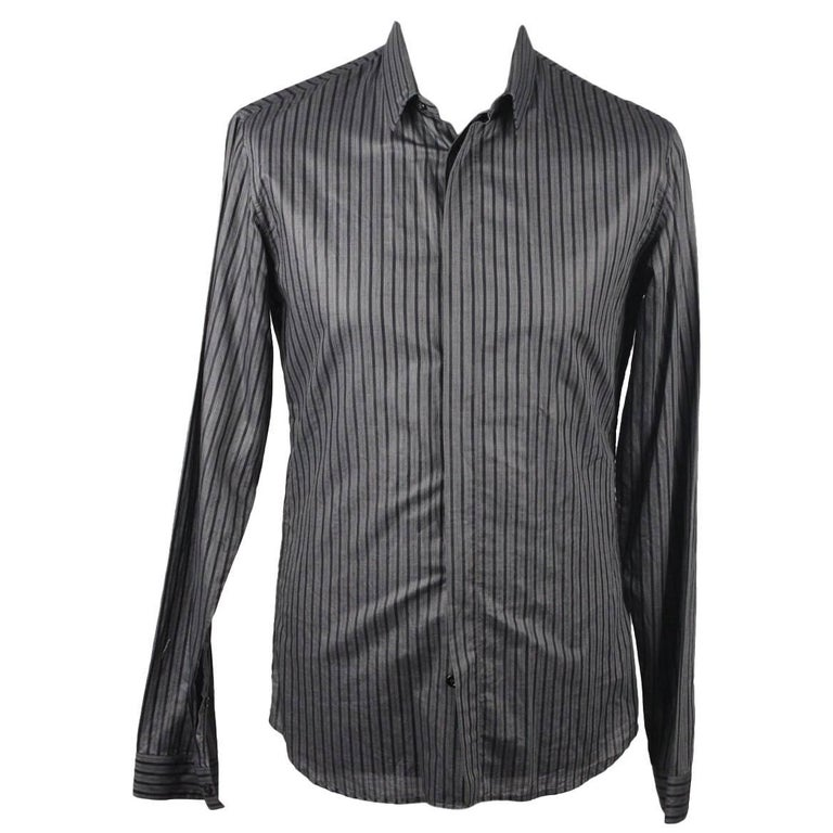 DIOR HOMME Cotton Striped Men Button Down Shirt Long Sleeve Size 39