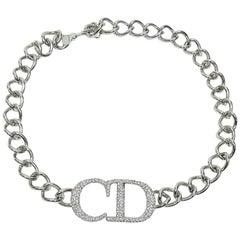 Christian Dior Silver Toned Diamante CD Monogram Necklace