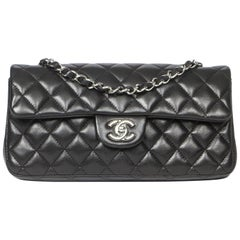 Chanel Eastwest Flap Black Leather Bag