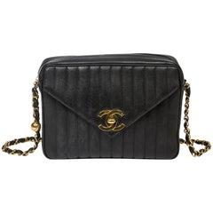 Chanel Zip Shoulder Bag Front Flap Pocket Black Leather
