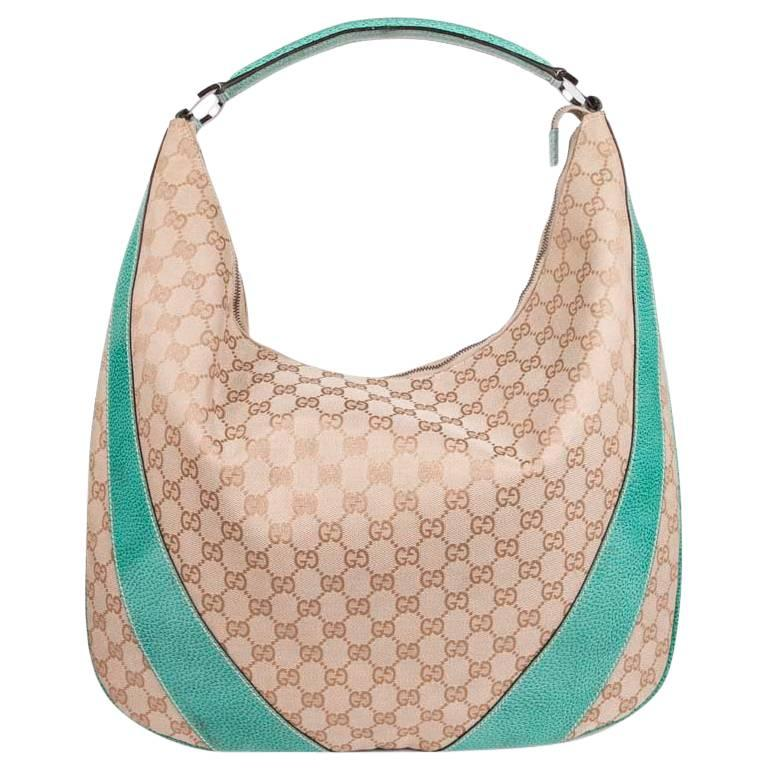 GUCCI Bag in Beige Monogram Canvas and Water Green Leather
