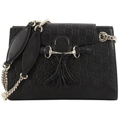 Gucci Emily Chain Flap Shoulder Bag Guccissima Leather Small