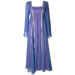 A Vintage 1970s lilac layered long summer festival dress 'California'