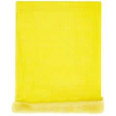 Verheyen London Handwoven Mink Fur Trimmed Cashmere Shawl in Yellow