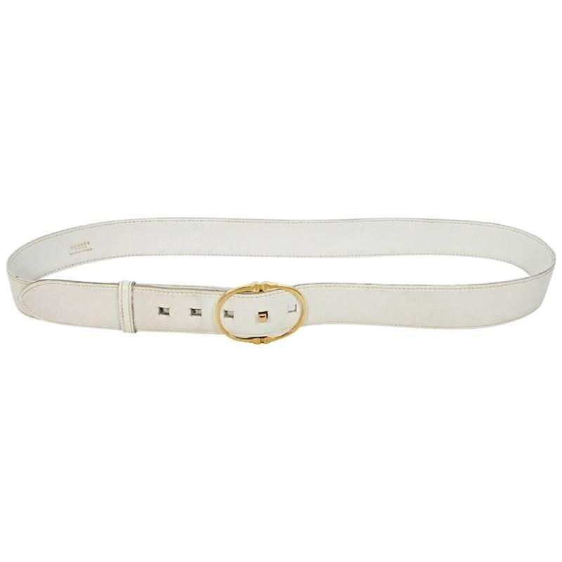 White Vintage Hermes Leather Belt