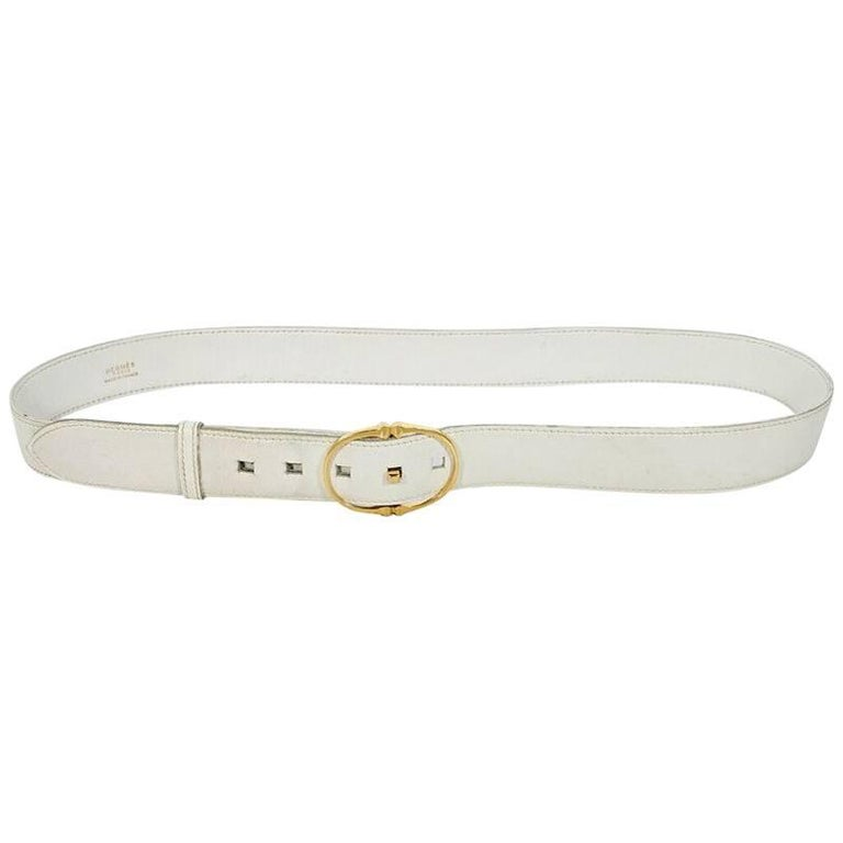 White Vintage Hermes Leather Belt
