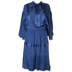 A Vintage 1970s  blue Silk Dress by Stefano Ricci for Herbie Frogg