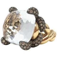 POMELLATO  Tango Collection Smokey Topaz Brown Diamond Gold RING