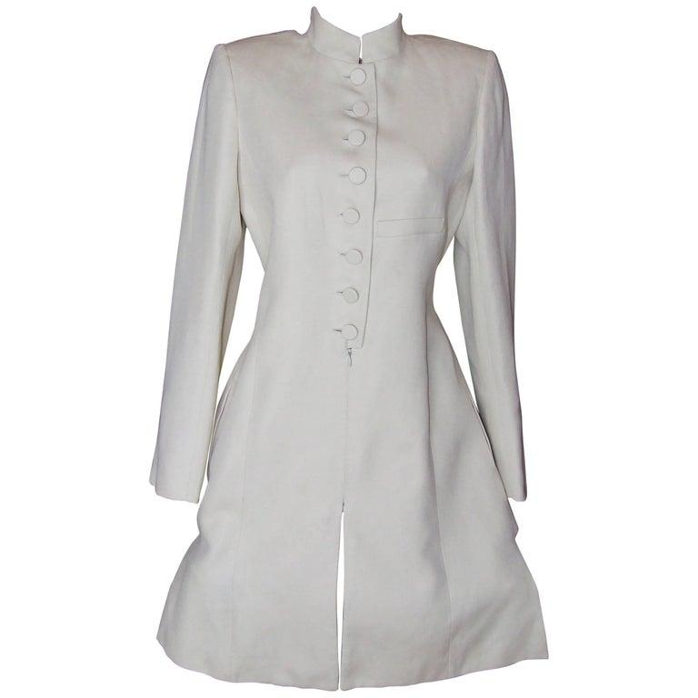 Beautiful Hermès Coat Cream Color Rami Cotton Mao Collar Size 36 FR 2-4 US
