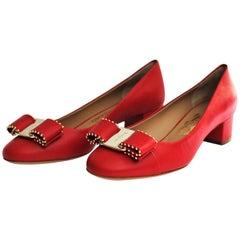Salvatore Ferragamo Red Shoes Vara Bow