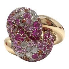 POMELLATO Tango RING Rose gold with icy diamonds, pink and orange sapphires.