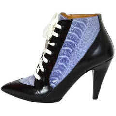 Balenciaga Black Leather & Purple Ostrich Ankle Boots Sz 36
