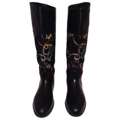 Ralph Lauren Black Riding Boots with Equestrian Theme Fabric Inserts