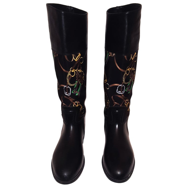 025a018143 Ralph Lauren Black Riding Boots with Equestrian Theme Fabric Inserts For  Sale