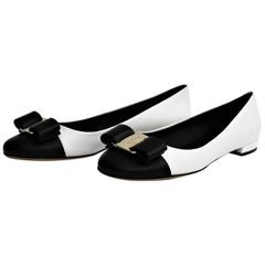 Salvatore Ferragamo Black and White Shoes Vara Bow