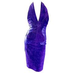 1990s North Beach Leather Michael Hoban Sexy Purple Suede Vintage Halter Dress
