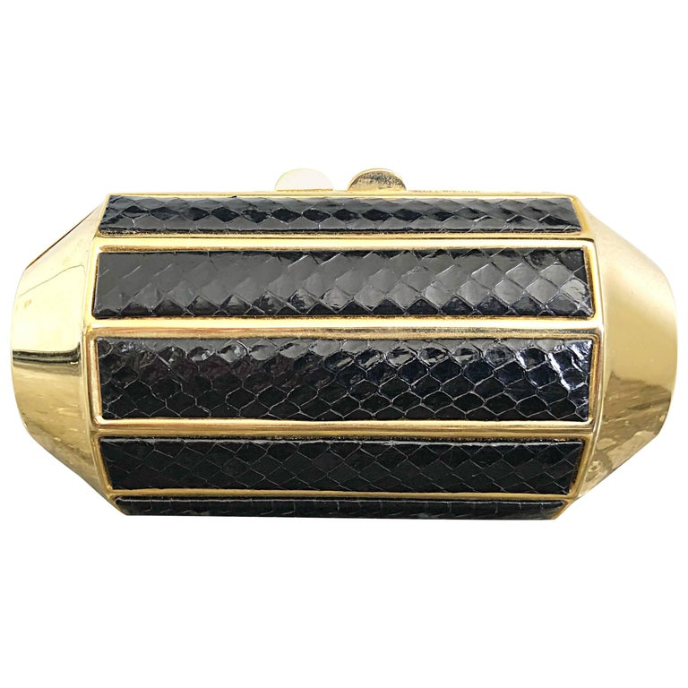 Chic 1970s Black + Gold Snakeskin Python 70s Vintage Minaudière Clutch Bag