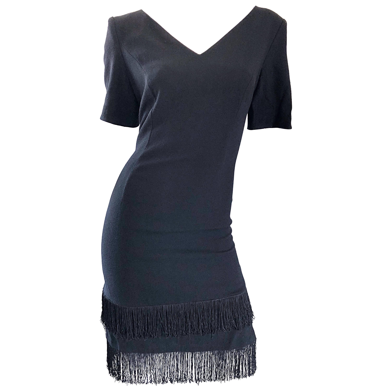 1990s Escada by Margaretha Ley Black Flapper Fringe Vintage Dress Size 8 / 10