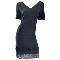 1990s Escada by Margaretha Ley Black Flapper Fringe Vintage Dress Size 8 / 10