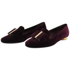 Salvatore Ferragamo Shoes Purple Velvet