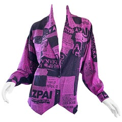 Amazing 1980s Purple + Black Newspaper Print Vintage 80s Novelty Jacket Blouse