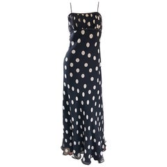 1990s Abriele Melano Black and White Polka Dot Silk Chiffon Maxi Dress 90s Gown