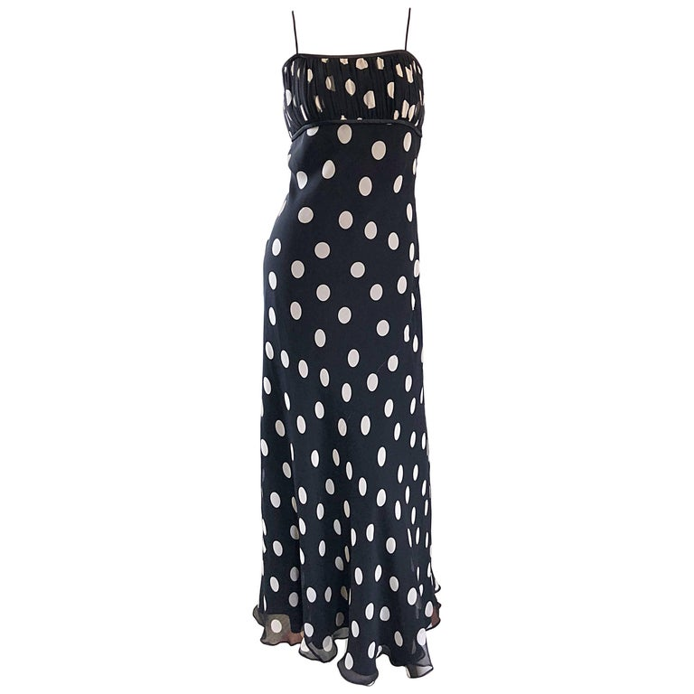 1990s Abriele Melano Black and White Polka Dot Silk Chiffon Maxi Dress 90s Gown For Sale