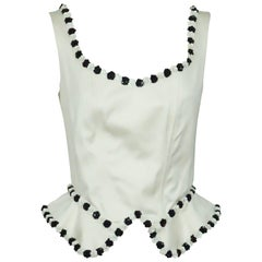 Moschino Couture White Cotton Fitted Top with Black and White Sequin detail