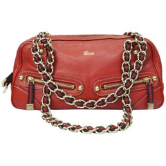 Gucci Red Leather Capri Boston Shoulder Handbag - GHW
