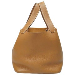 Hermes Gold Leather Lock PM Silver Hardware Picotin Bag, 2009