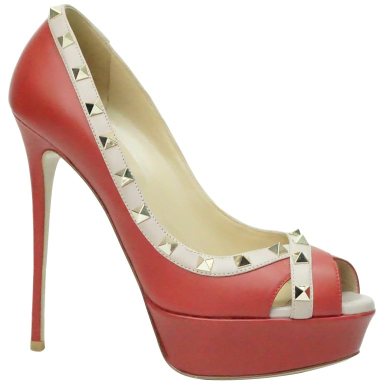 Valentino Red and Nude Rock Stud Peeptoe Platform with Spiked Heel - GHW - 38.5